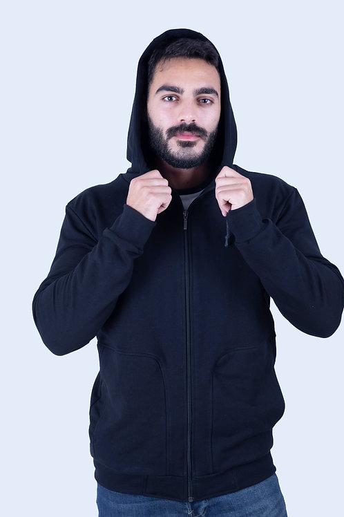 Full-Zip Black Hoodie