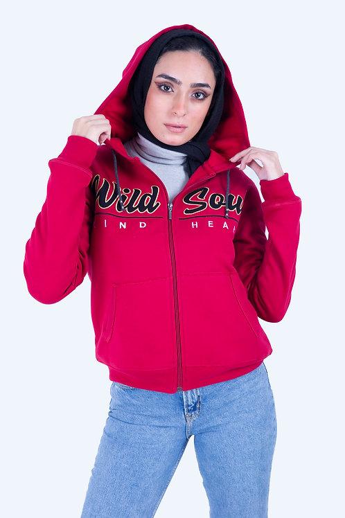 Full-Zip Hoodie Dark Red Wild soul