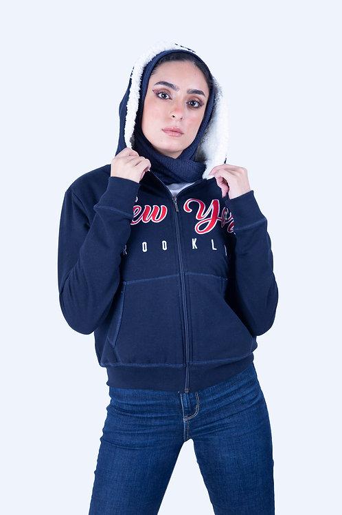 Fur Full-Zip Hoodie Navy Blue New York