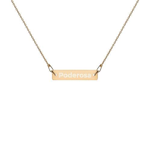 Poderosa Engraved Silver Bar Chain Necklace