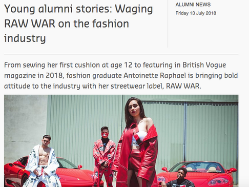 Young Alumni Stories: Waging RAW WAR on the fashion industry