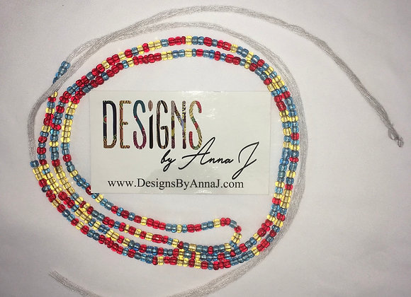 Red Blue and Yellow Waistbeads