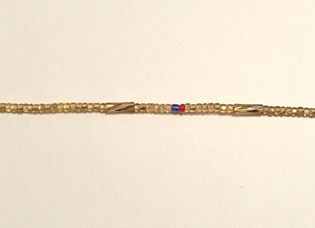 Gold Red & Blue Waistbeads