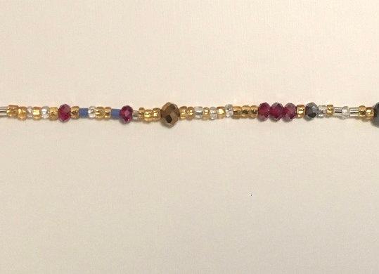 Plum Lavender Gold & Silver Multi Color Waistbeads