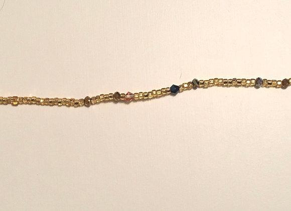Gold Blue Silver Waistbeads