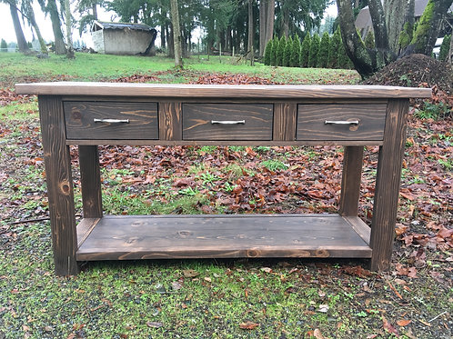 Rustic Entryway Table with Three Drawers