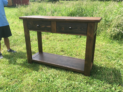 Rustic Console Table with Two Drawers