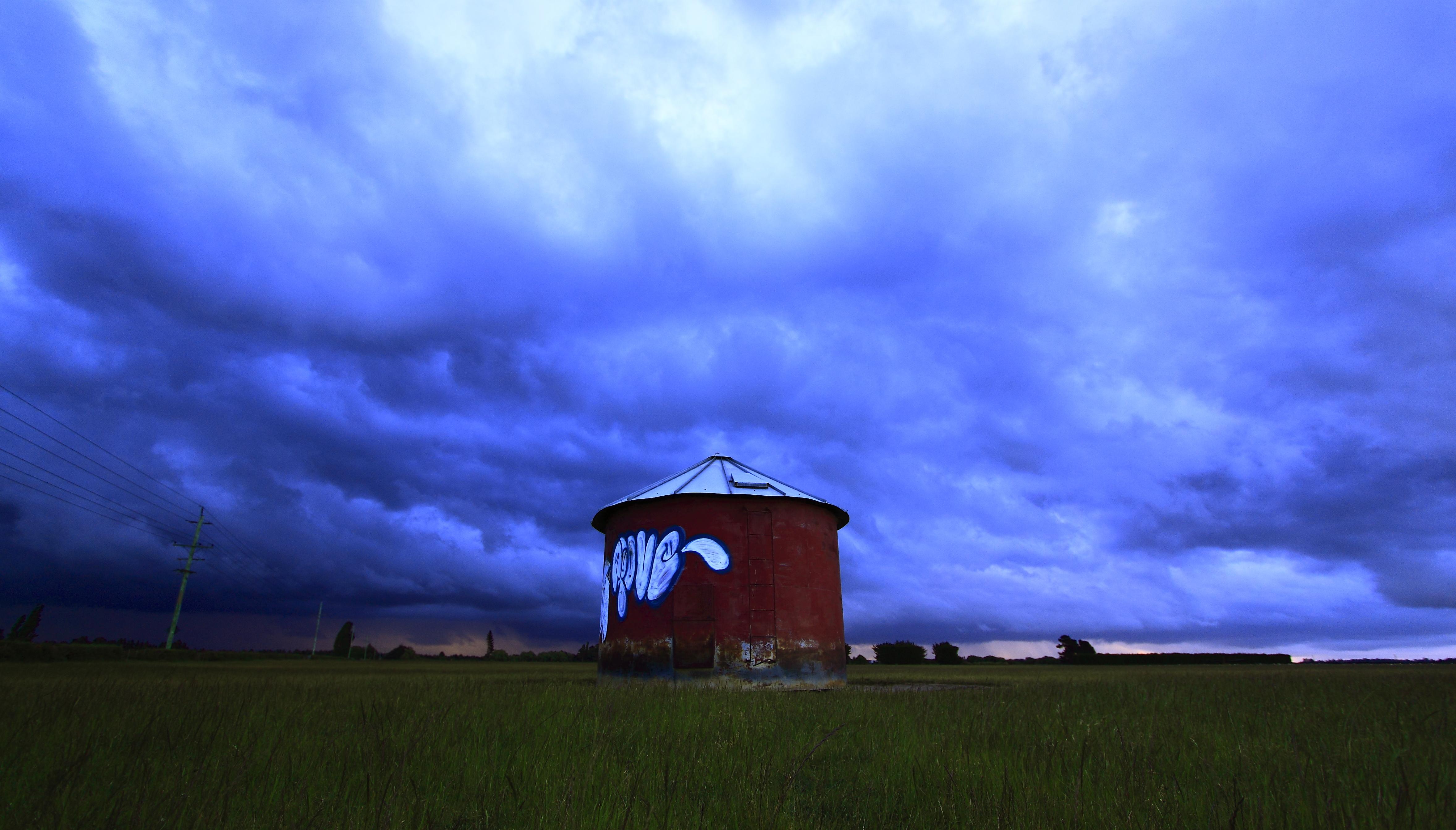 Threatening Sky over silo