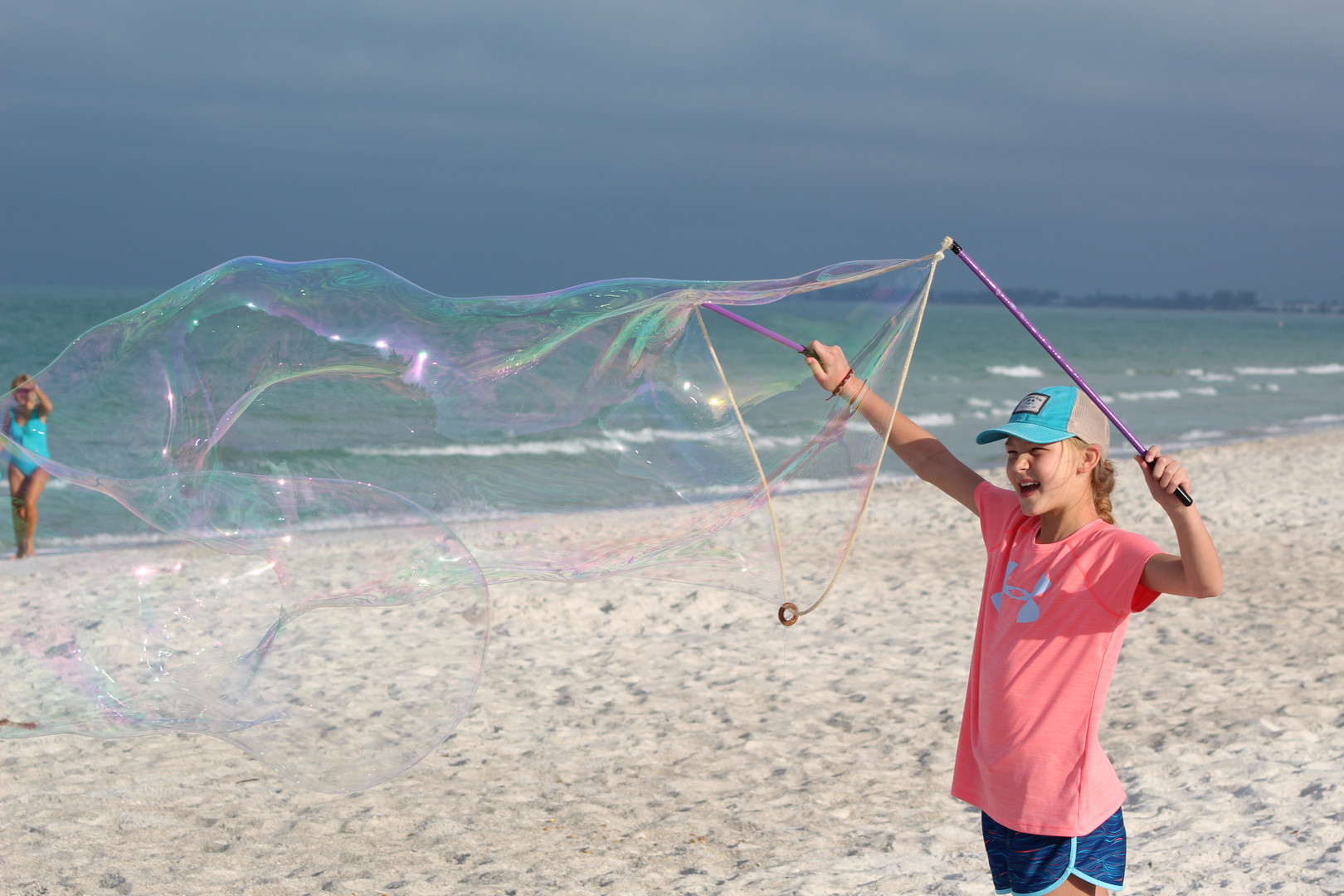 Giant Bubbles on the Beach
