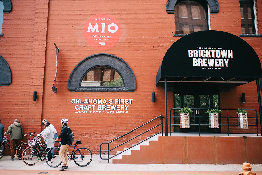 bike and people outside bricktown brewery