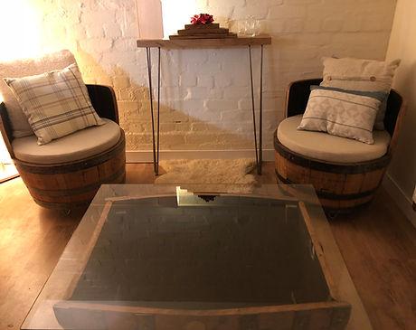 Whisky Barrel Furniture, Whisky barrel chair, whiskey barrels, coffee table, snug suite, oak barrel furniture, glass topped coffee table