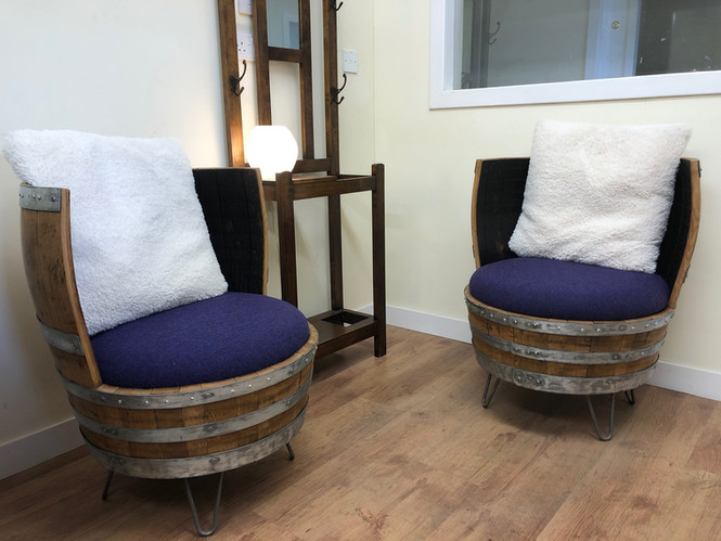 The Twins, Whisky barrel chairs.