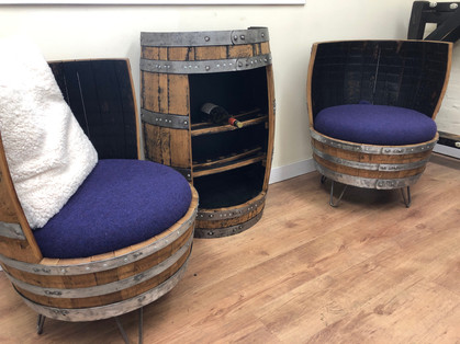 The Twin Set, whisky barrel chairs