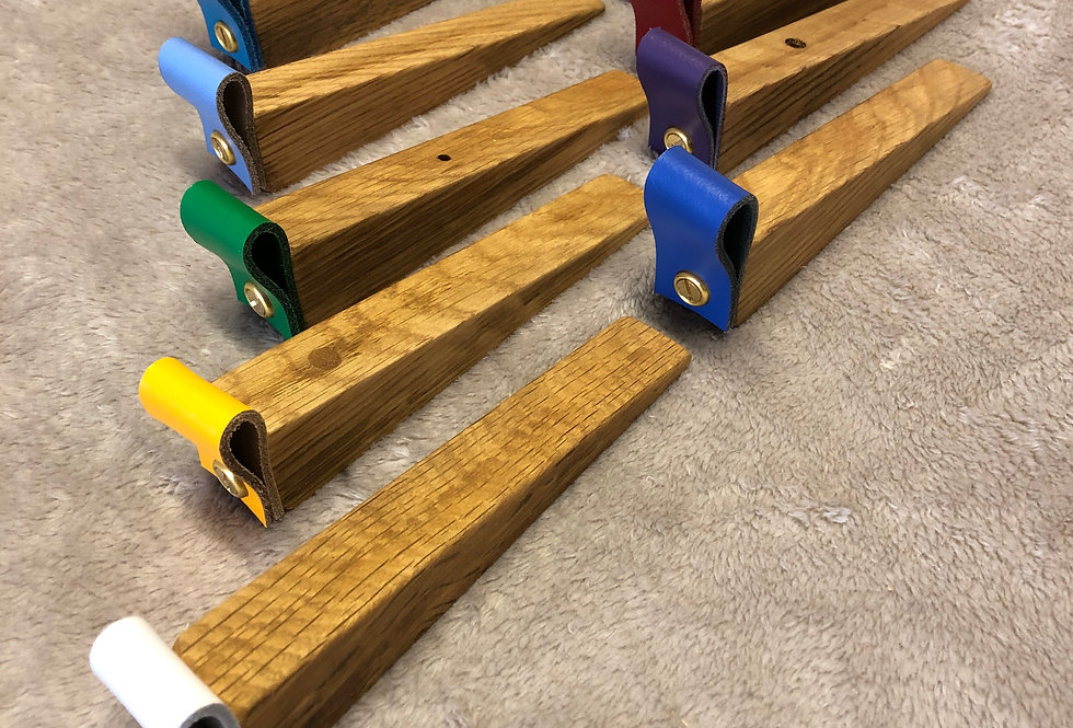 Solid Oak Doorstops with Leather