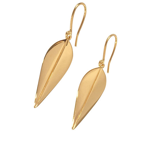 LOTUS - Earrings, Gold plated silver