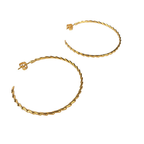 LOTUS HOOPS - Earrings, Big edition, gold plated silver