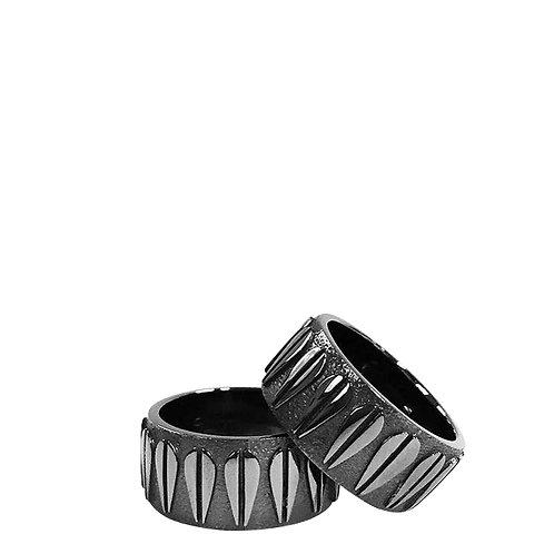 LOTUS - Unisex Ring, Black ruthenium plated silver