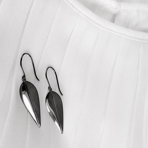 LOTUS - Earrings. Black Ruthenium plated silver