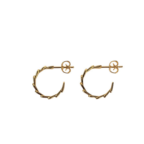 LOTUS HOOPS - Earrings, Small edition, gold plated silver