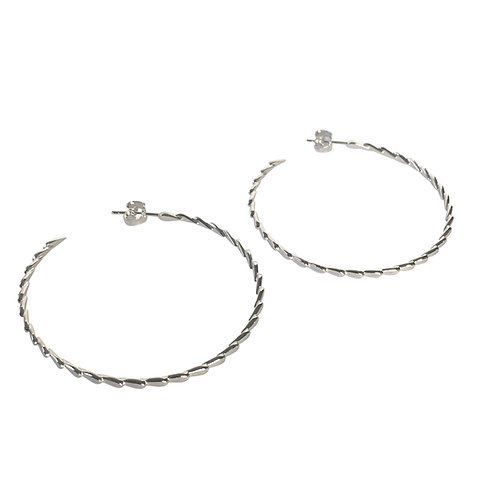 LOTUS HOOPS - Earrings, Big edition, silver