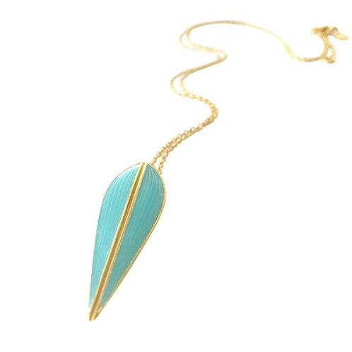 LOTUS - Turquoise Enamel Necklace