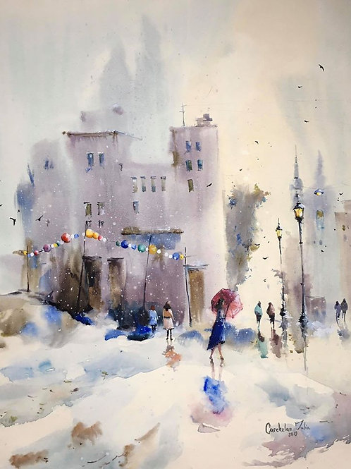 """Watercolor """"Christmas is coming"""""""
