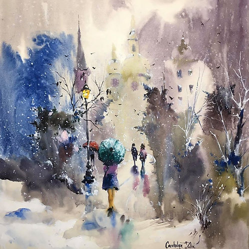 "SOLD Watercolor ""On the way to the church"""