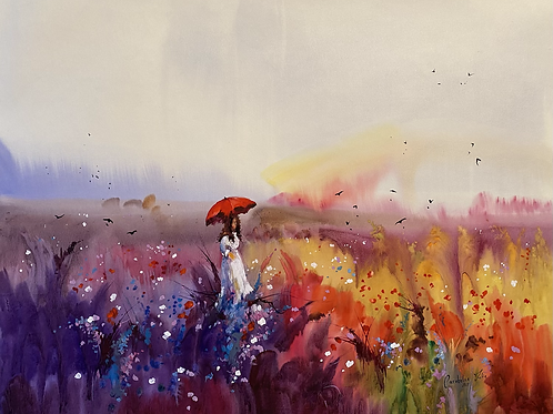 """Three wonders of Summer: rainbow, lavender and poppies"""