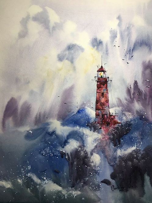 "SOLD Watercolor ""Sea storm. Red lighthouse"""
