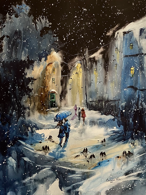 """Always together. Snowy evening"""