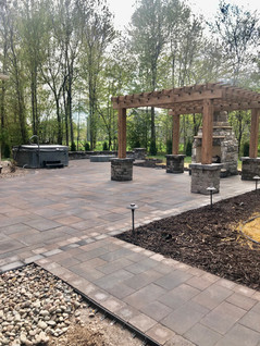 Paver Patio with Pergola and Fire Place
