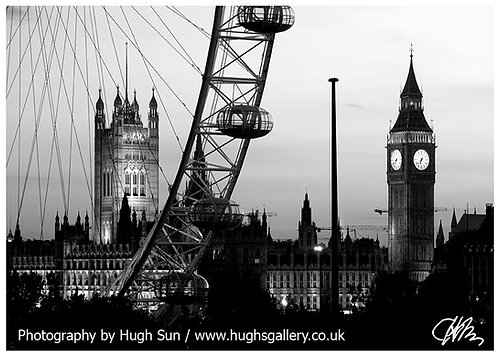 BB10-London Eye & Big Ben (B/W)