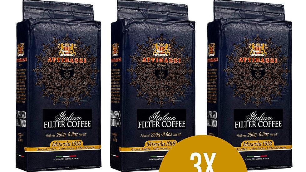 Attibassi 1918 Ground Coffee 3 x 250gr