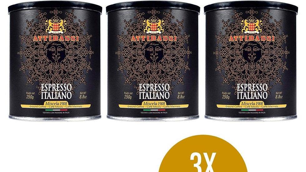 Attibassi 1918 Ground Coffee Tins 3 x 250 gr