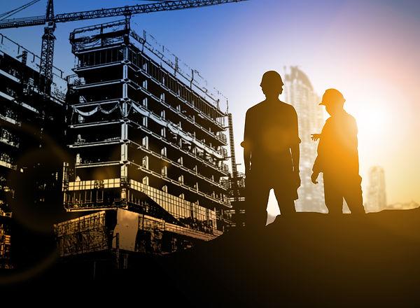 silhouette Businessman engineer looking