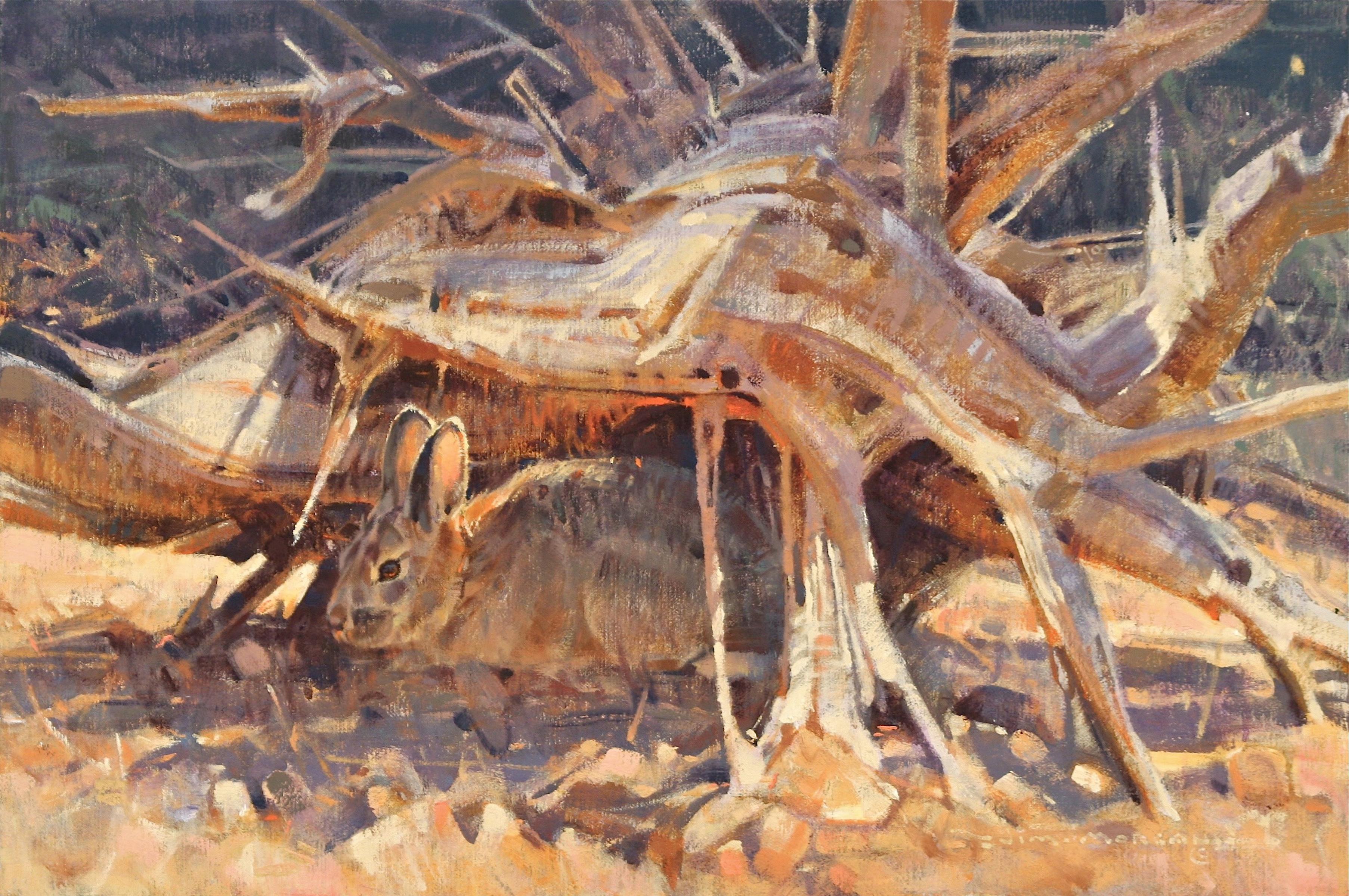 Desert Cottontail and Juniper Snag