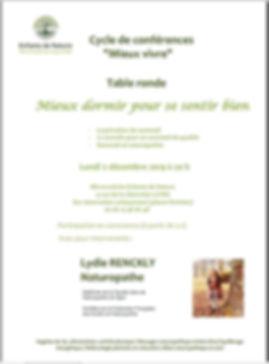 Table ronde sur le sommeil le 2 décembre 2019 à Villé