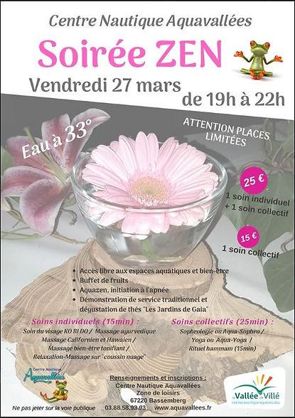 Soirée Zen Aquavallées 27 mars 2020