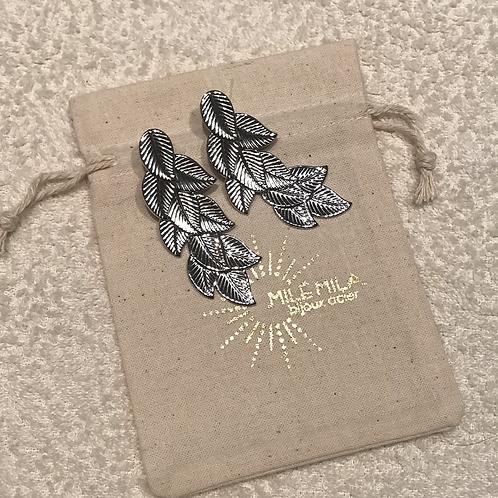 Boucles d'oreilles feuilles argenté