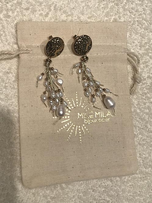 Boucles d'oreilles doré et perles nacrées