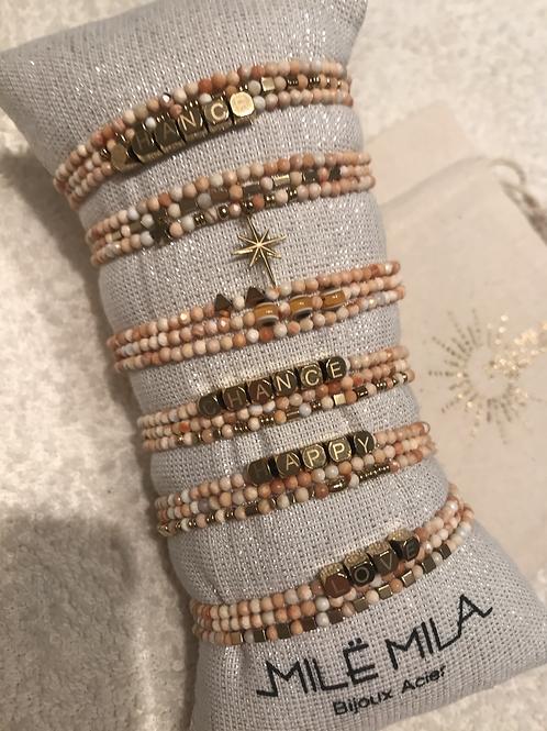 Bracelet pierres beige/doré