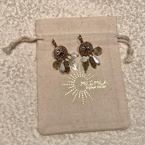 Boucles d'oreilles perles doré