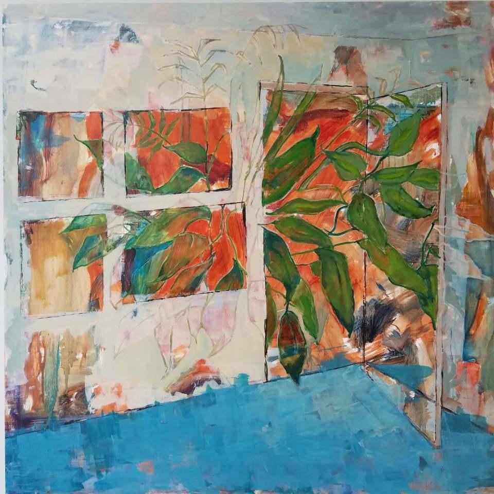 Studio with Plant 30x30 oil on panel