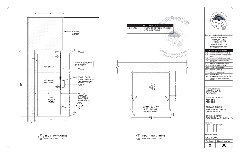 Section Casework Shop Drawing