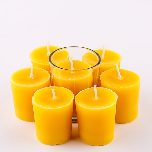 7 Votive Beeswax Candles - 1 Glassware
