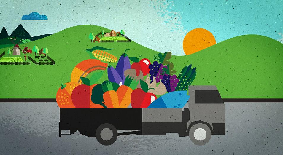 Style Frame SAB Miller, truck with food illustration, motion design, Food security, Angela Gigica