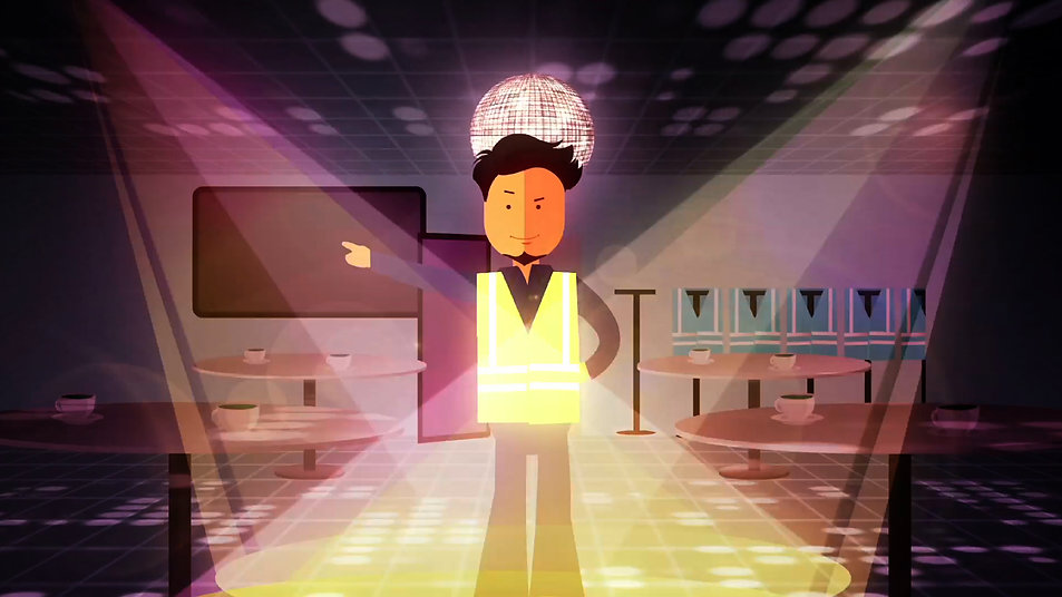 Animation, style frame, explainer, Angela Gigica, character animation, man dance, travolta dance, motion graphics