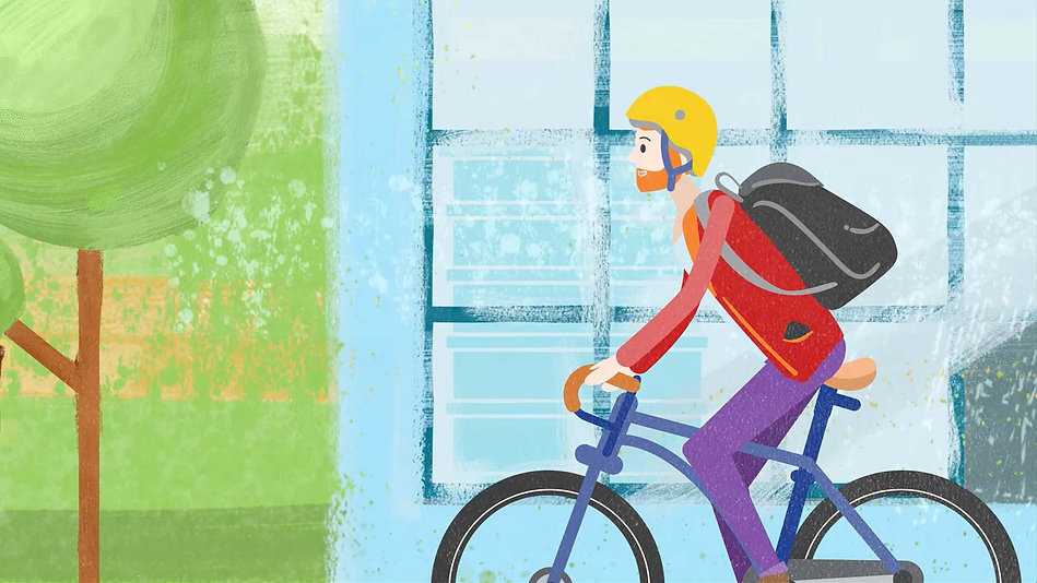 character animation, illustrator, illustration, Angela Gigica, motion graphics, cyclist