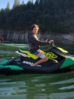Mikey on our spark trixx during our company trip to lake shasta