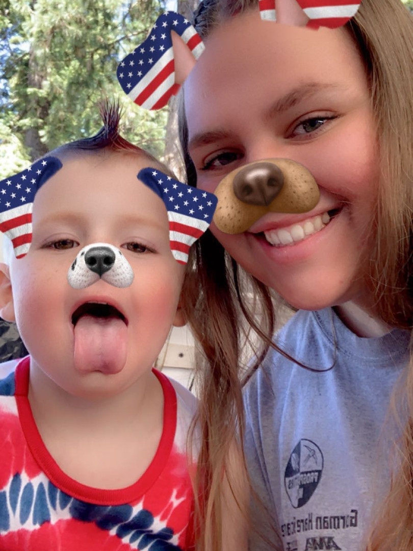 Keris and Whalen on the 4th of July 2020